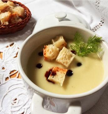 Crema di finocchi con Aceto Balsamico di Modena IGP e crostini
