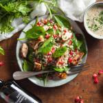 Salade d'orge perlé au poulet grillé et épinards, sauce verte au Vinaigre Balsamique de Modène IGP