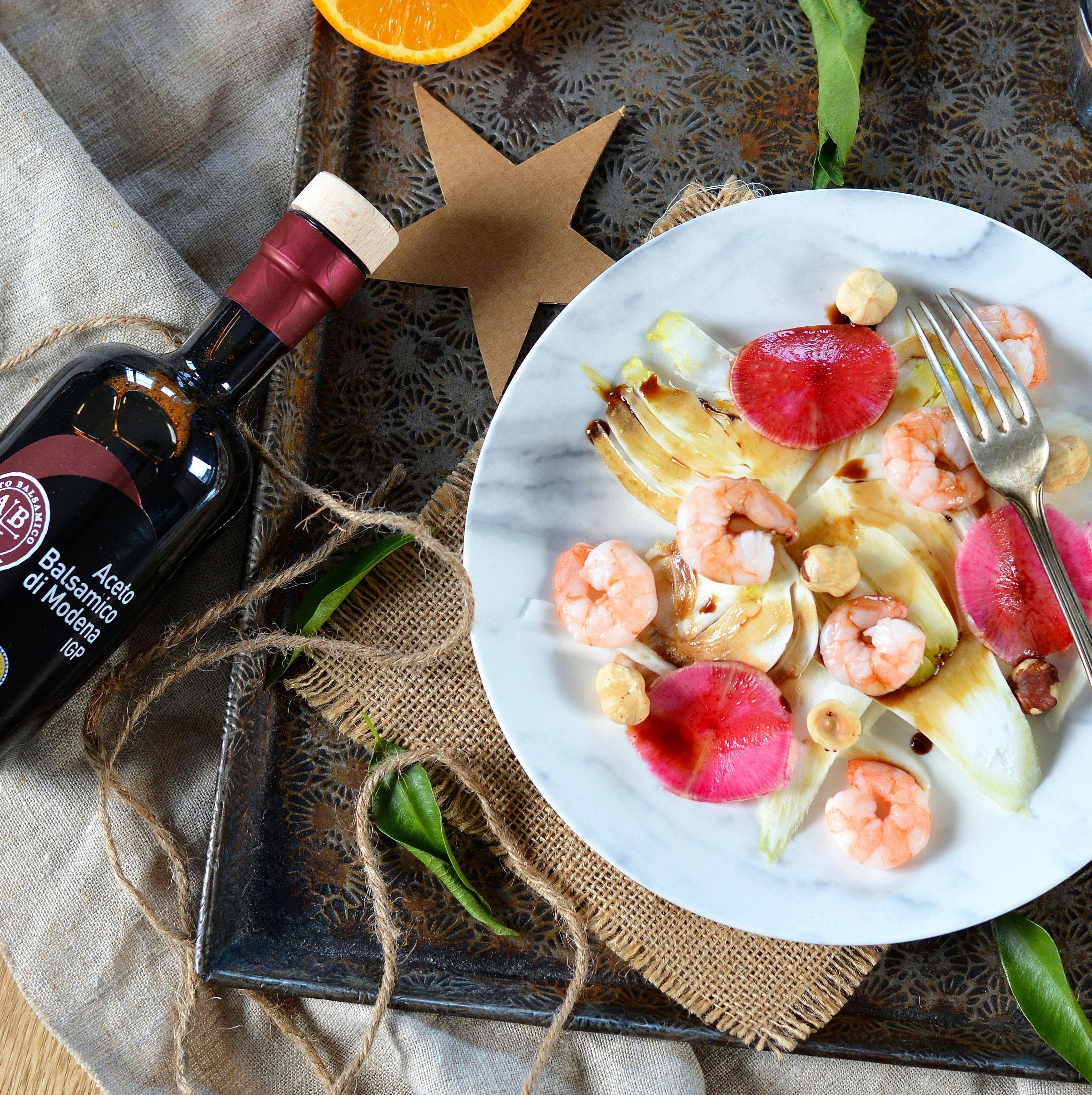 Salade de fenouil, crevettes et Vinaigre Balsamique de Modène IGP