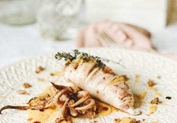 Calamaro ripieno con zucca, castagne e Aceto Balsamico di Modena IGP
