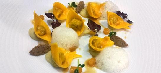 Duck ravioli with Aceto Balsamico di Modena IGP, ginger foam and potato cream