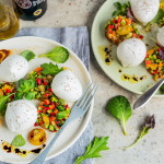 Summer vegetables Tartare with yellow cherry tomatoes and Buffalo Mozzarella balls