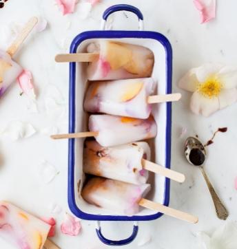Almond, fruit and rose petal ice pops with Balsamic Vinegar of Modena PGI