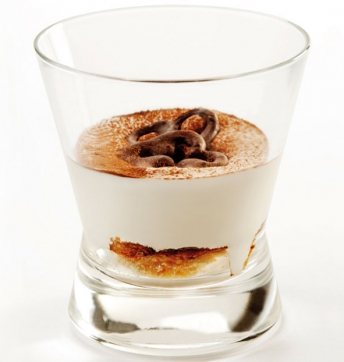 Mousse cappuccino with mascarpone, rich chocolate biscuit with a soul of Aceto Balsamico di Modena PGI