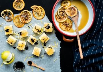 Semolino dolce, composta di limone e Aceto Balsamico di Modena IGP