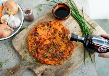 Sweet potatoes, onions and Emmenthal cheese tortilla flavoured with Balsamic Vinegar of Modena PGI