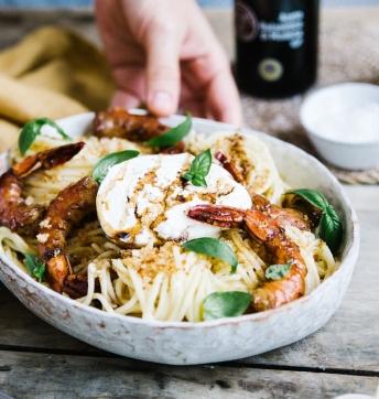 Spaghetti au citron et gambas caramélisées au Vinaigre Balsamique de Modène IGP