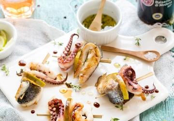 Tintenfisch, Dorade und Zitronen-Spieße