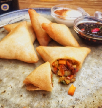 Vegetarian samosa with Balsamic Vinegar of Modena PGI
