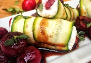 Zucchini Roulade with cherries and Balsamic Vinegar of Modena PGI