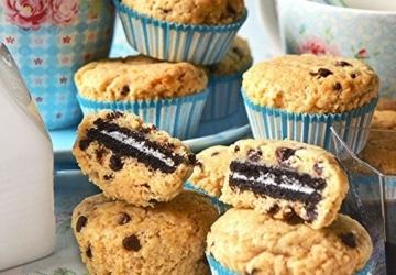 Muffins-Chocolate Chip Cookies farcis de biscuit et aromatisés au Vinaigre Balsamique de Modène IGP
